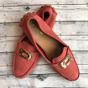 COACH Napoleon Coral Driving Loafers